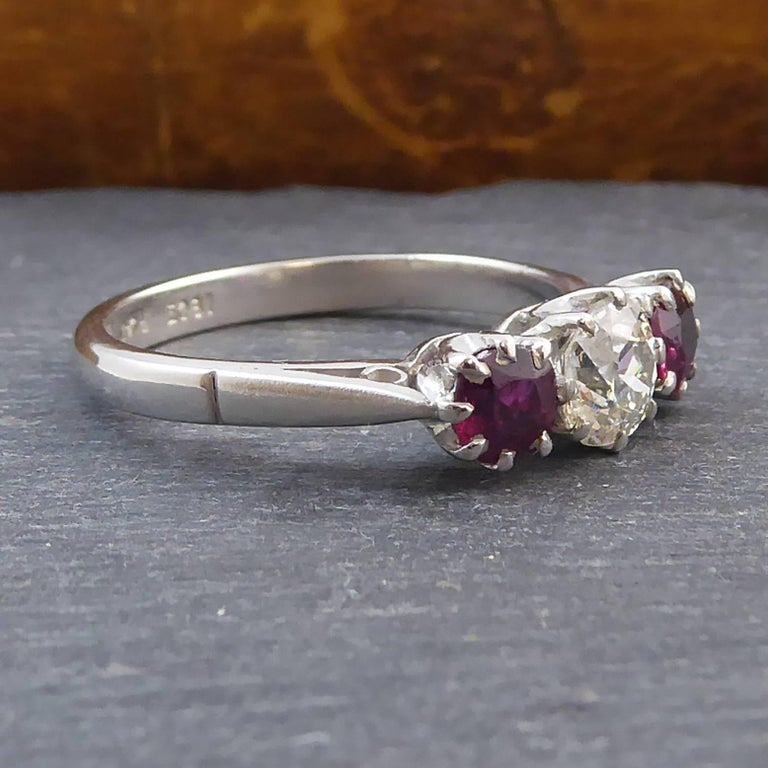 Modern Old Brilliant Cut Diamond and Ruby Diamond Engagement Ring For Sale