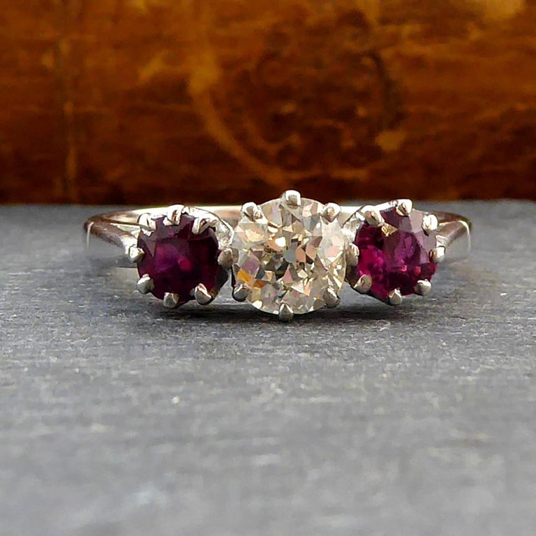 Round Cut Old Brilliant Cut Diamond and Ruby Diamond Engagement Ring For Sale