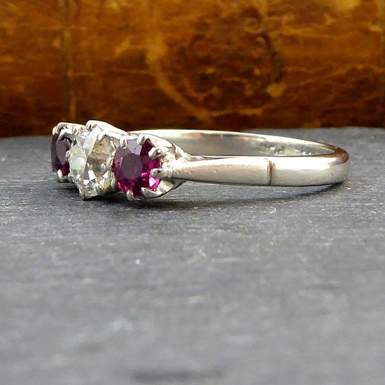Old Brilliant Cut Diamond and Ruby Diamond Engagement Ring In Excellent Condition For Sale In Yorkshire, West Yorkshire