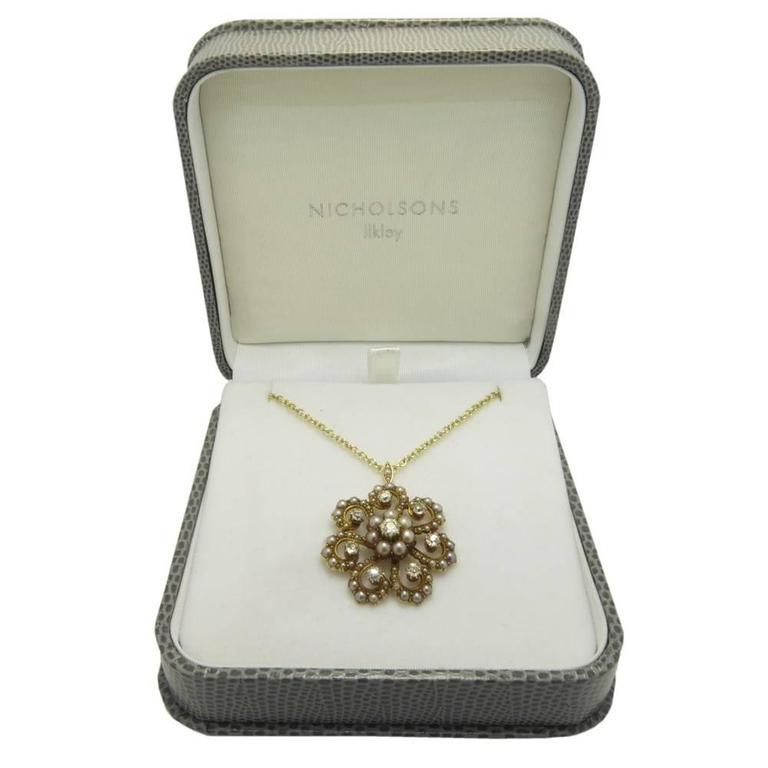 Antique Old Cut Diamond and Pearl Pendant, Victorian Circa 1890s 4