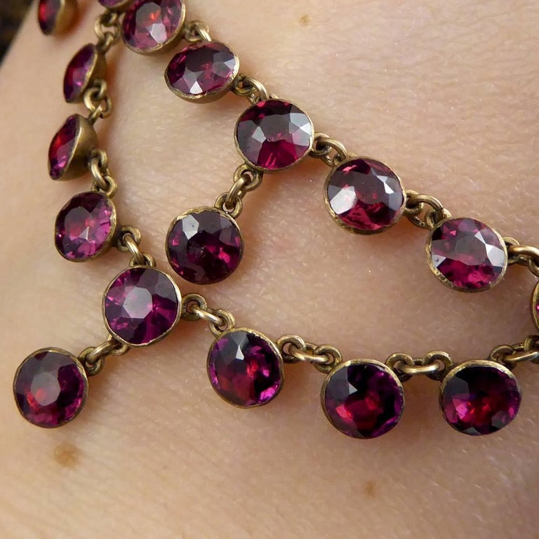 Antique Victorian Bohemian Garnet Gold Necklace at 1stdibs