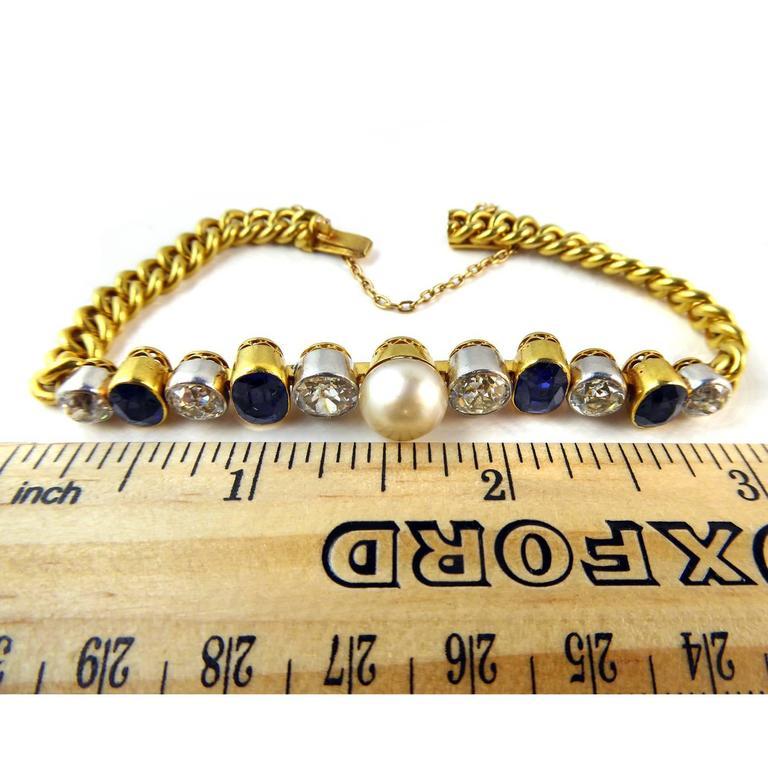 Art Deco Diamond, Sapphire & Natural Pearl Line Bracelet, 18Ct Gold & Platinum For Sale 2