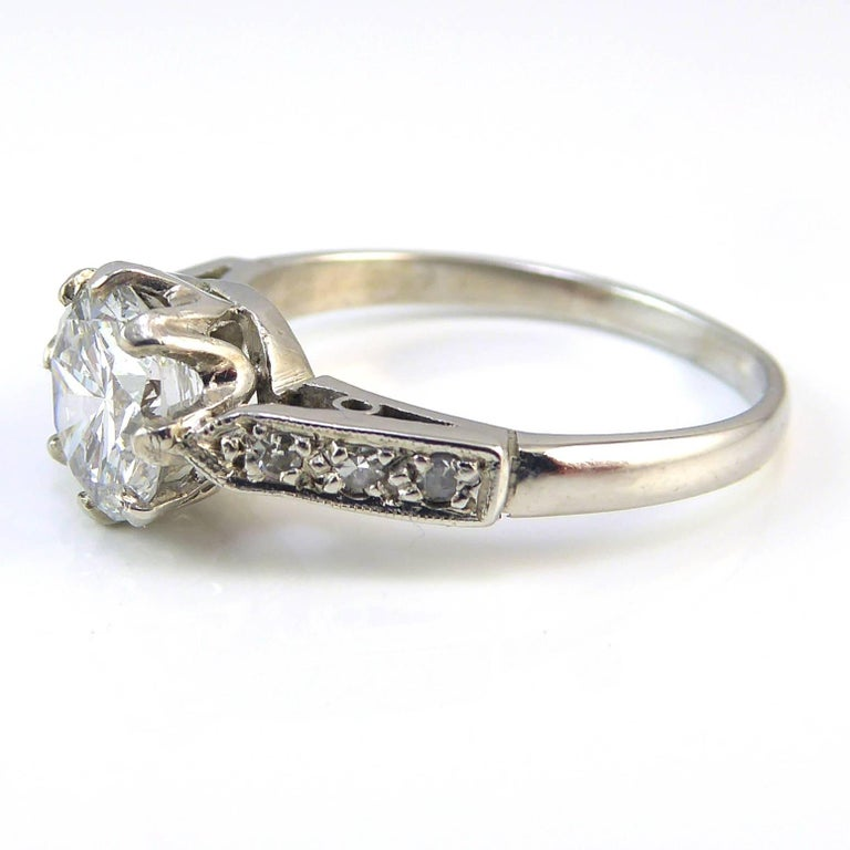 Retro Old Cut Diamond Ring, 1.06 Carat Solitaire, 18 Carat White Gold and Platinum For Sale