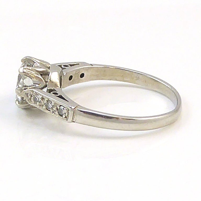 Old Cut Diamond Ring, 1.06 Carat Solitaire, 18 Carat White Gold and Platinum In Excellent Condition For Sale In Ilkley, West Yorkshire