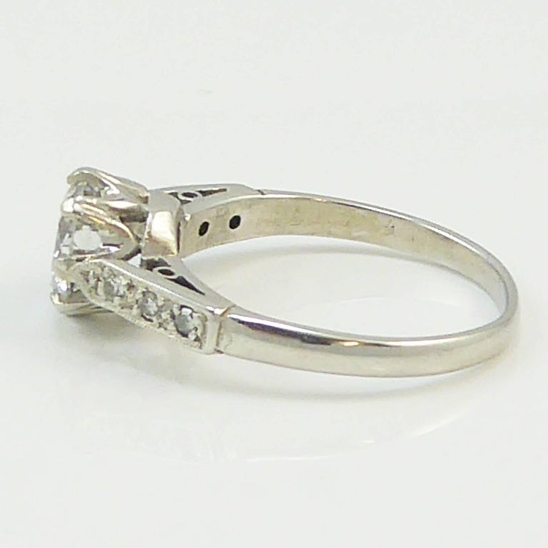 Women's Old Cut Diamond Ring, 1.06 Carat Solitaire, 18 Carat White Gold and Platinum For Sale