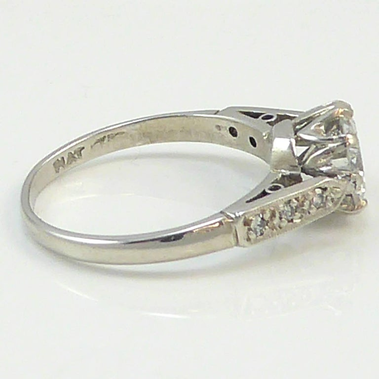 Old Cut Diamond Ring, 1.06 Carat Solitaire, 18 Carat White Gold and Platinum For Sale 1
