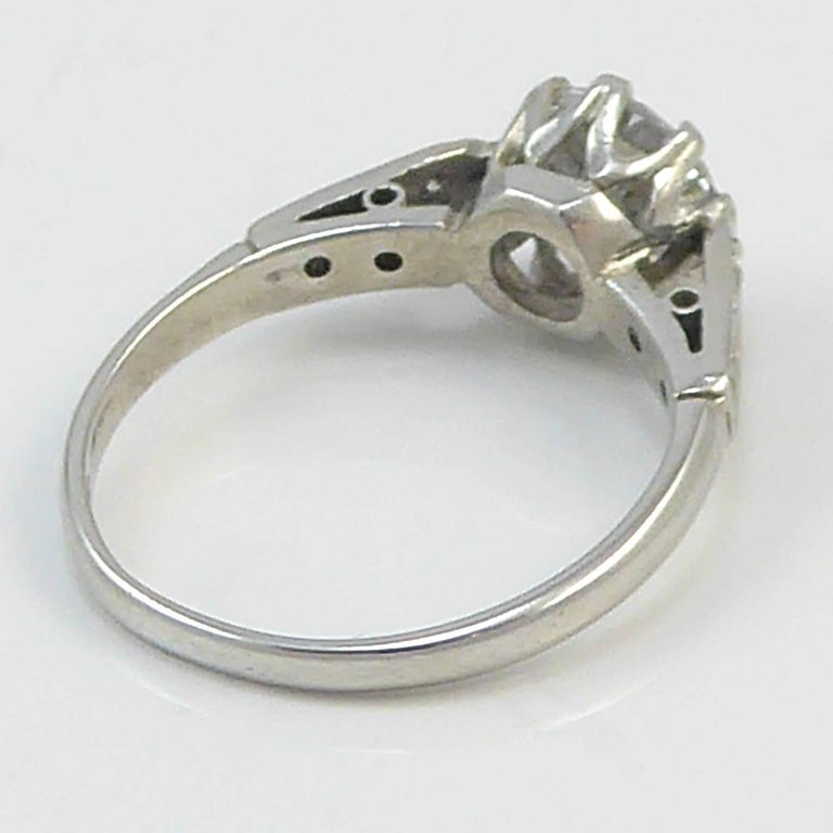 Old Cut Diamond Ring, 1.06 Carat Solitaire, 18 Carat White Gold and Platinum For Sale 2