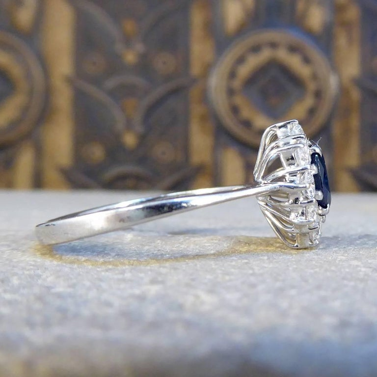 Contemporary Sapphire and Diamond Cluster Engagement Ring in 18 Carat White Gold RG400 For Sale