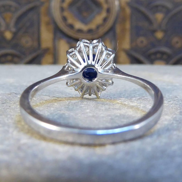Sapphire and Diamond Cluster Engagement Ring in 18 Carat White Gold RG400 In Good Condition For Sale In Ilkley, West Yorkshire