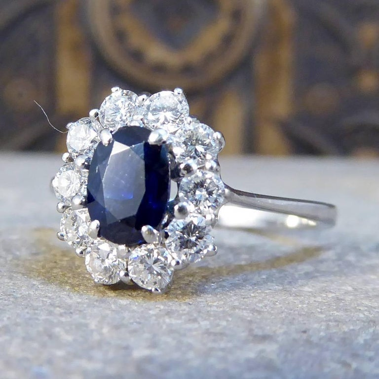 Women's Sapphire and Diamond Cluster Engagement Ring in 18 Carat White Gold RG400 For Sale