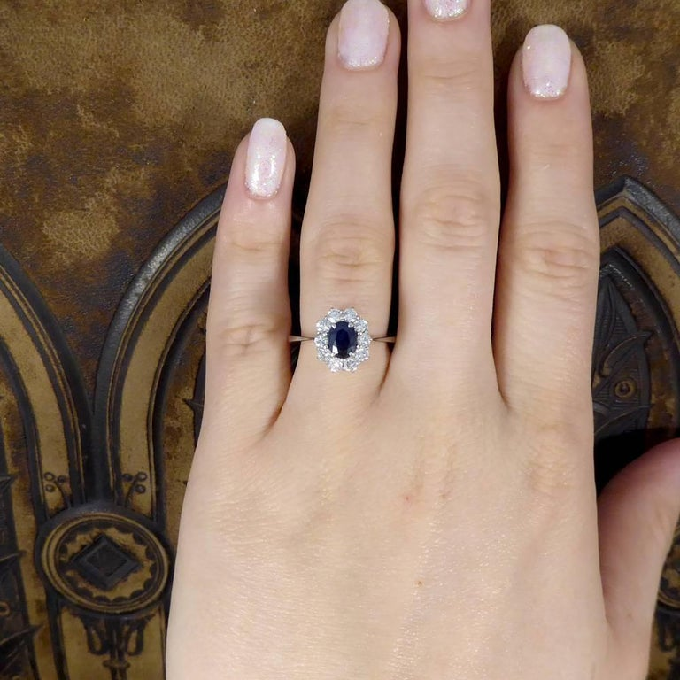 Sapphire and Diamond Cluster Engagement Ring in 18 Carat White Gold RG400 For Sale 2