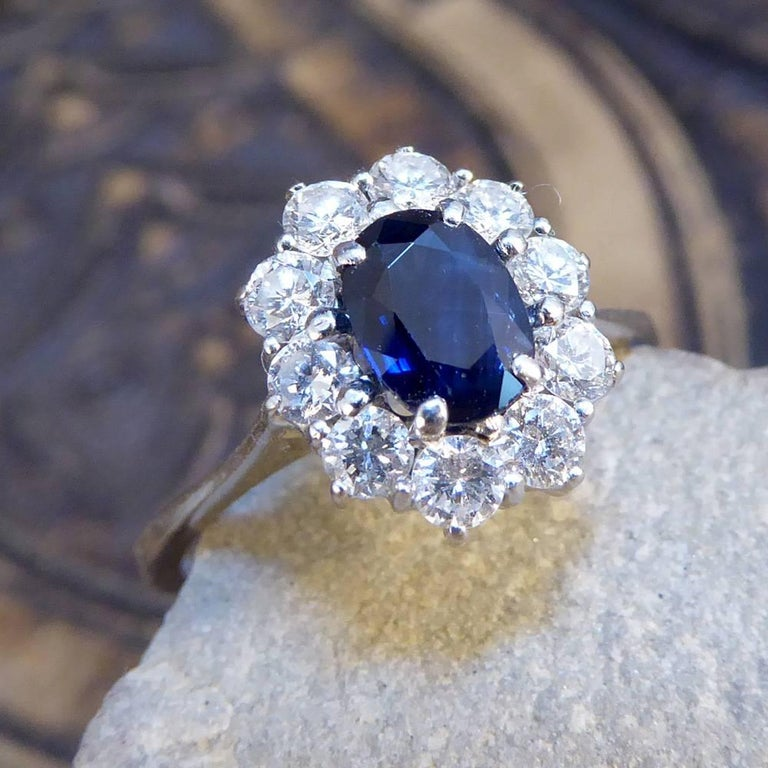 Sapphire and Diamond Cluster Engagement Ring in 18 Carat White Gold RG400 For Sale 3