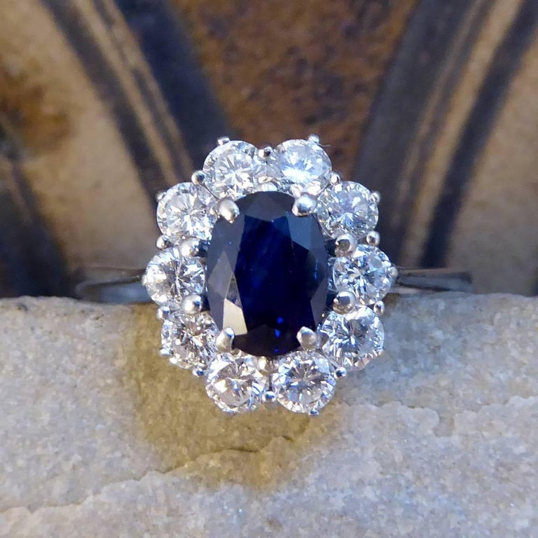 Sapphire and Diamond Cluster Engagement Ring in 18 Carat White Gold RG400 For Sale 4