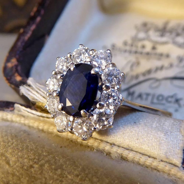 Sapphire and Diamond Cluster Engagement Ring in 18 Carat White Gold RG400 For Sale 5
