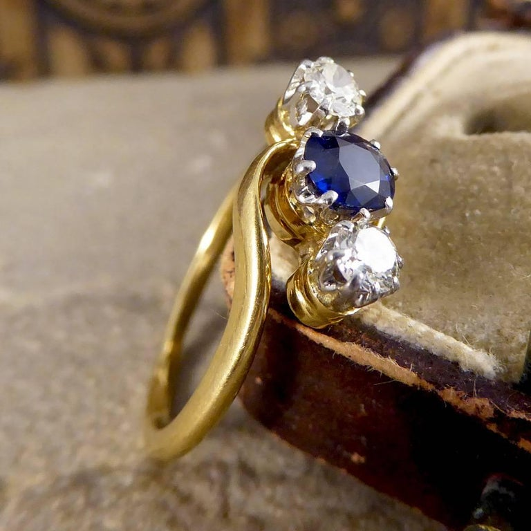 Antique Edwardian Sapphire And Diamond Three Stone Twist