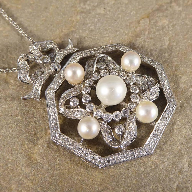 Contemporary Diamond and Pearl Necklace Set in 18 Carat White Gold 2