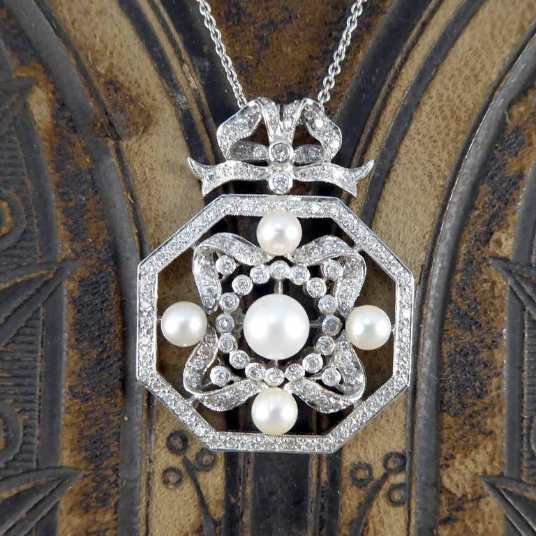 Contemporary Diamond and Pearl Necklace Set in 18 Carat White Gold 6
