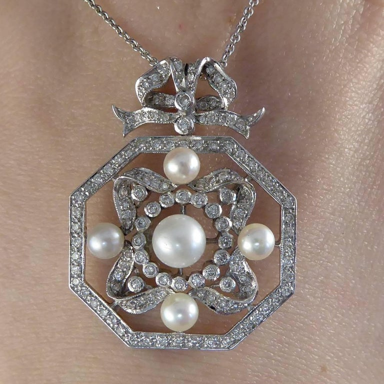 Contemporary Diamond and Pearl Necklace Set in 18 Carat White Gold 9