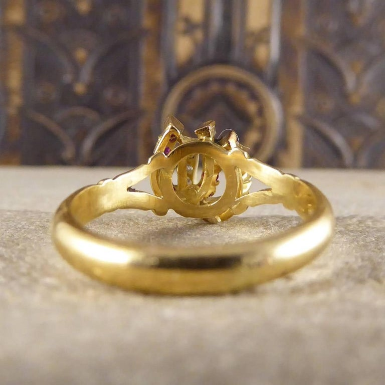 Women's Antique Edwardian Ruby and Diamond Double Horseshoe Ring in 18 Carat Gold
