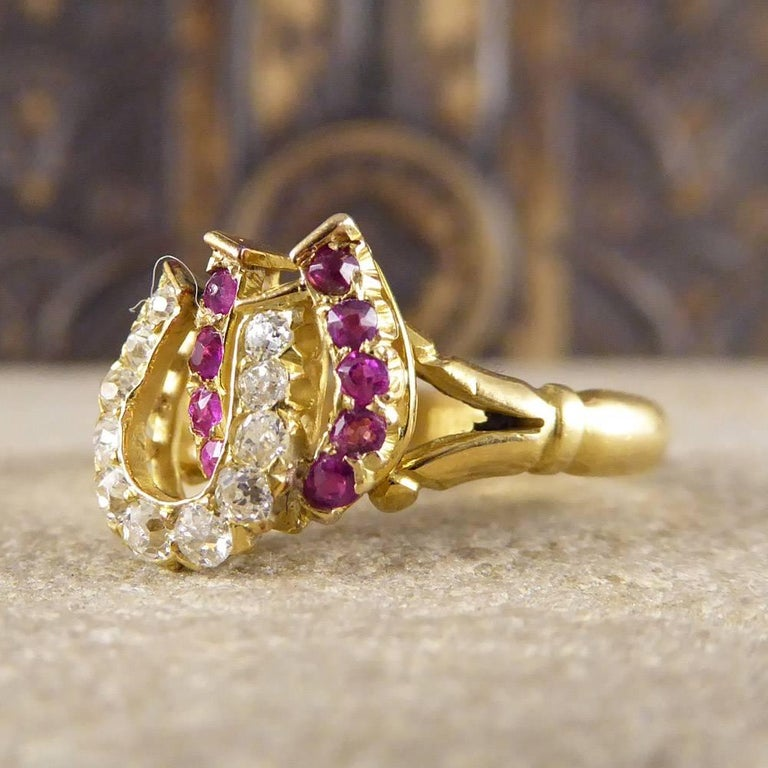 Antique Edwardian Ruby and Diamond Double Horseshoe Ring in 18 Carat Gold 1
