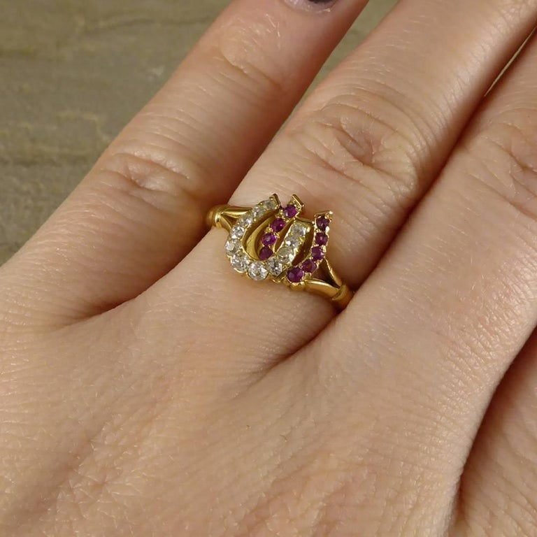 Antique Edwardian Ruby and Diamond Double Horseshoe Ring in 18 Carat Gold 3