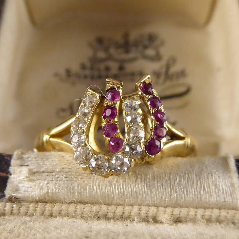 Antique Edwardian Ruby and Diamond Double Horseshoe Ring in 18 Carat Gold 4