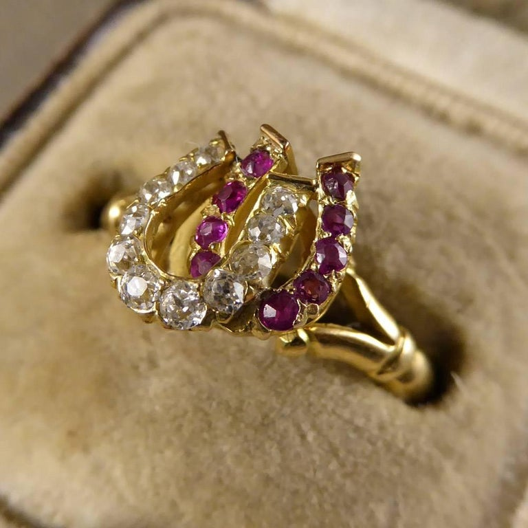Antique Edwardian Ruby and Diamond Double Horseshoe Ring in 18 Carat Gold 6