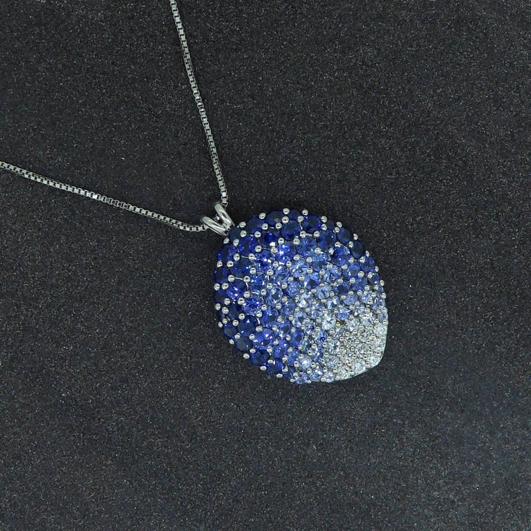 Contemporary Diamond, Blue Sapphire and White Sapphire Pendant In Excellent Condition For Sale In Ilkley, West Yorkshire