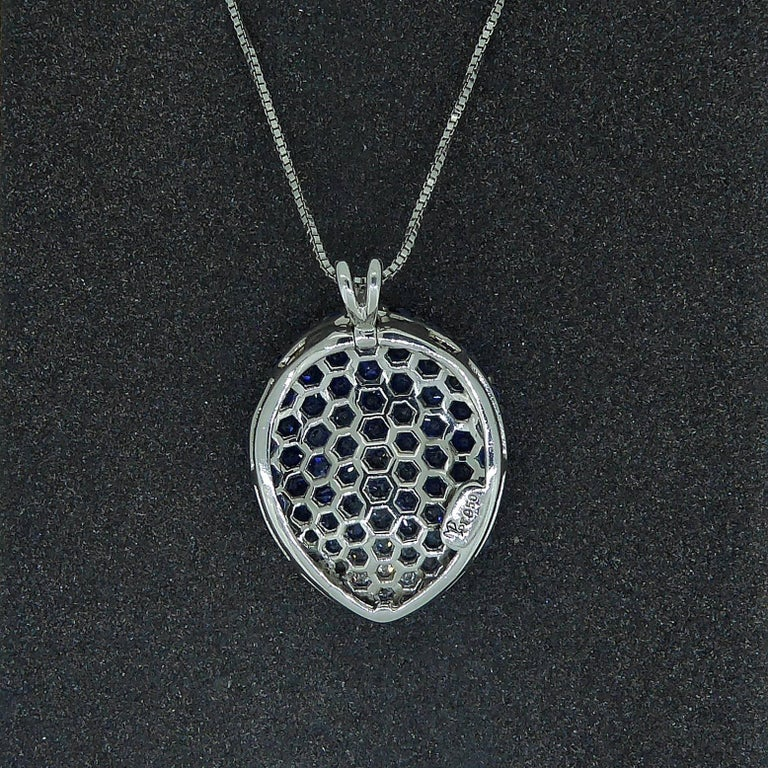 Women's Contemporary Diamond, Blue Sapphire and White Sapphire Pendant For Sale