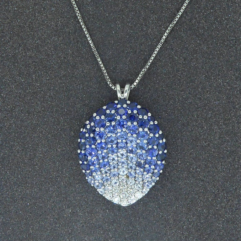Contemporary Diamond, Blue Sapphire and White Sapphire Pendant For Sale 2