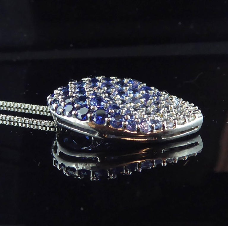 Contemporary Diamond, Blue Sapphire and White Sapphire Pendant For Sale 4