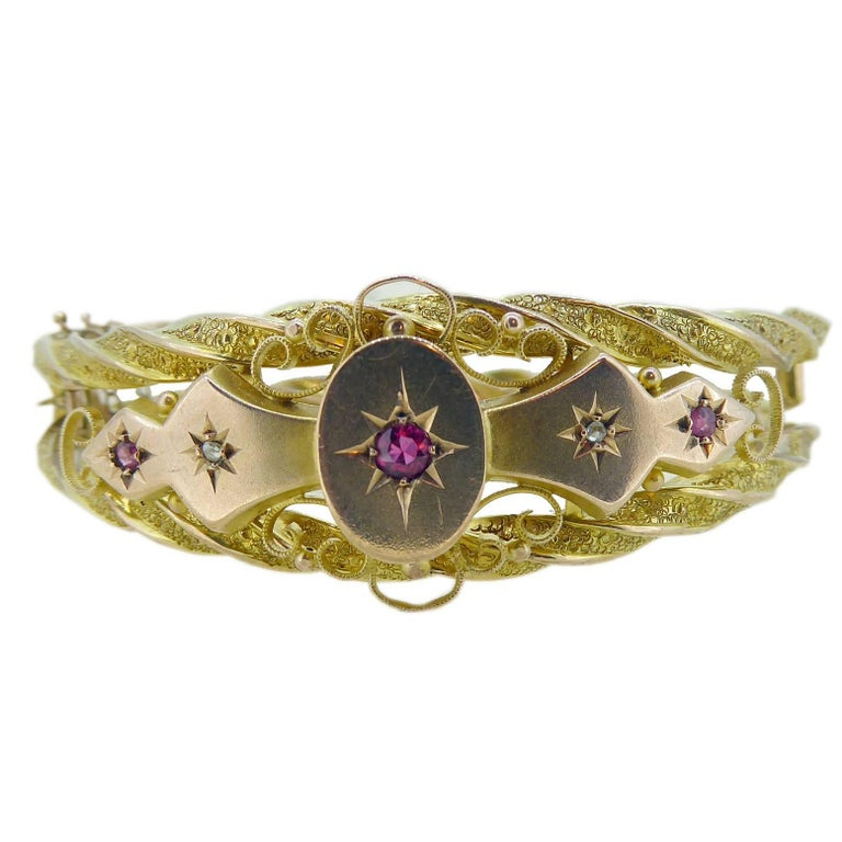 Victorian Ruby and Diamond Bangle in 9 Carat Gold