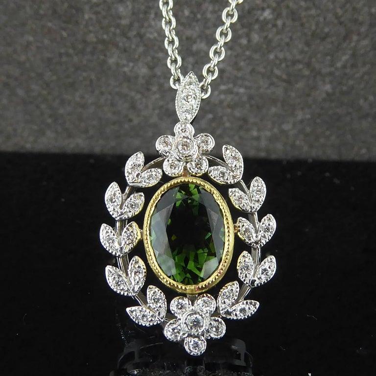 Antique Style 1.82 Carat Green Tourmaline Pendant with 0.21 Carat Diamonds 3