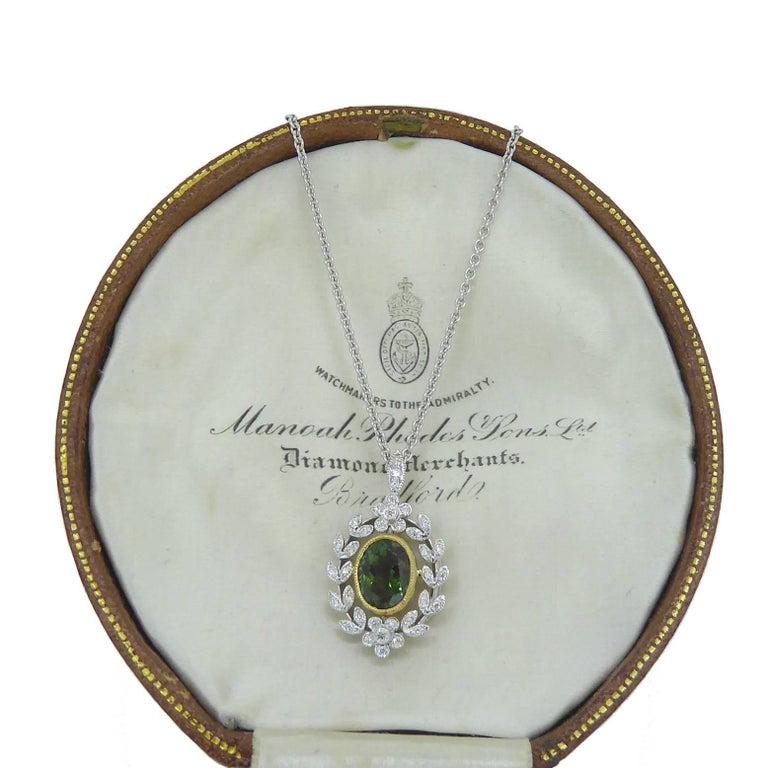 Antique Style 1.82 Carat Green Tourmaline Pendant with 0.21 Carat Diamonds 4