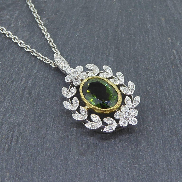 Antique Style 1.82 Carat Green Tourmaline Pendant with 0.21 Carat Diamonds 6