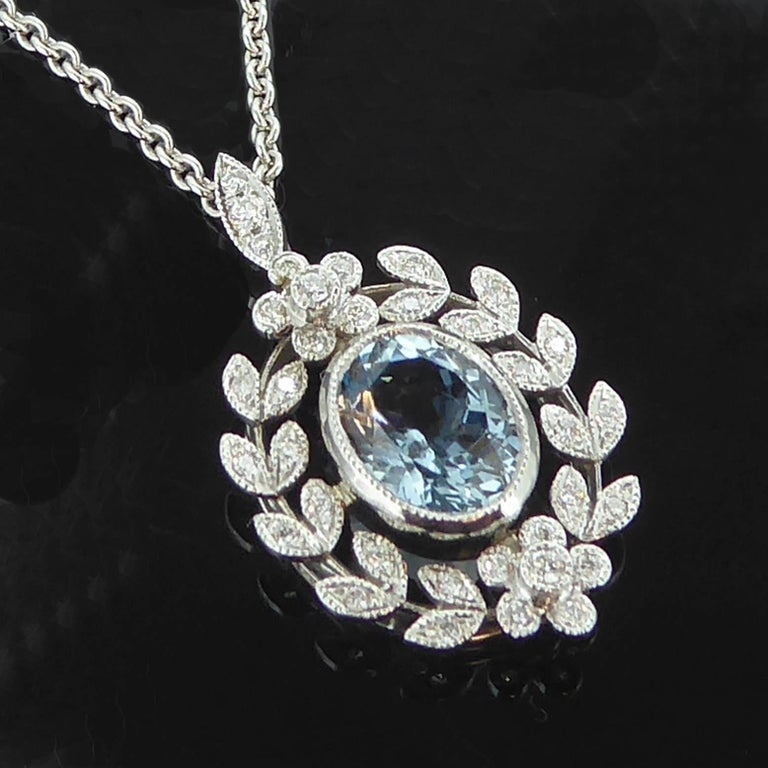Antique Belle Époque Style 1.70 Carat Aquamarine and Diamond Pendant in 18 Carat 2