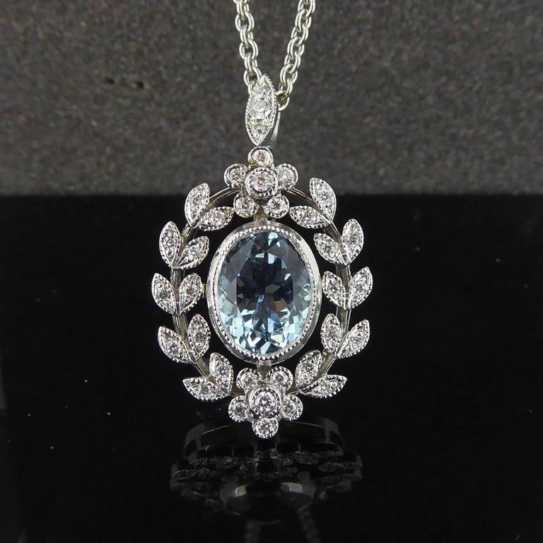 Antique Belle Époque Style 1.70 Carat Aquamarine and Diamond Pendant in 18 Carat 9