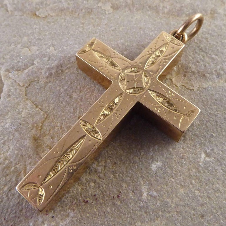 Antique detailed engraved cross pendant in 9 carat gold at 1stdibs antique detailed engraved cross pendant in 9 carat gold in good condition for sale in ilkley aloadofball Images