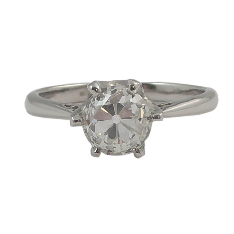Vintage 1.02 Carat Old European Cut Diamond Solitaire Engagement Ring, Platinum