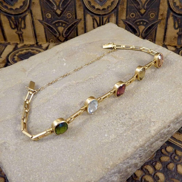 Antique Edwardian Tourmaline, Aquamarine, Garnet and Citrine 15ct Gold Bracelet  In Good Condition For Sale In Yorkshire, West Yorkshire