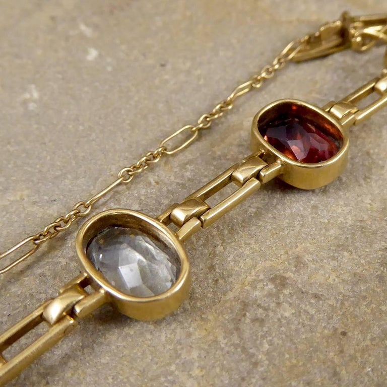 Women's Antique Edwardian Tourmaline, Aquamarine, Garnet and Citrine 15ct Gold Bracelet  For Sale