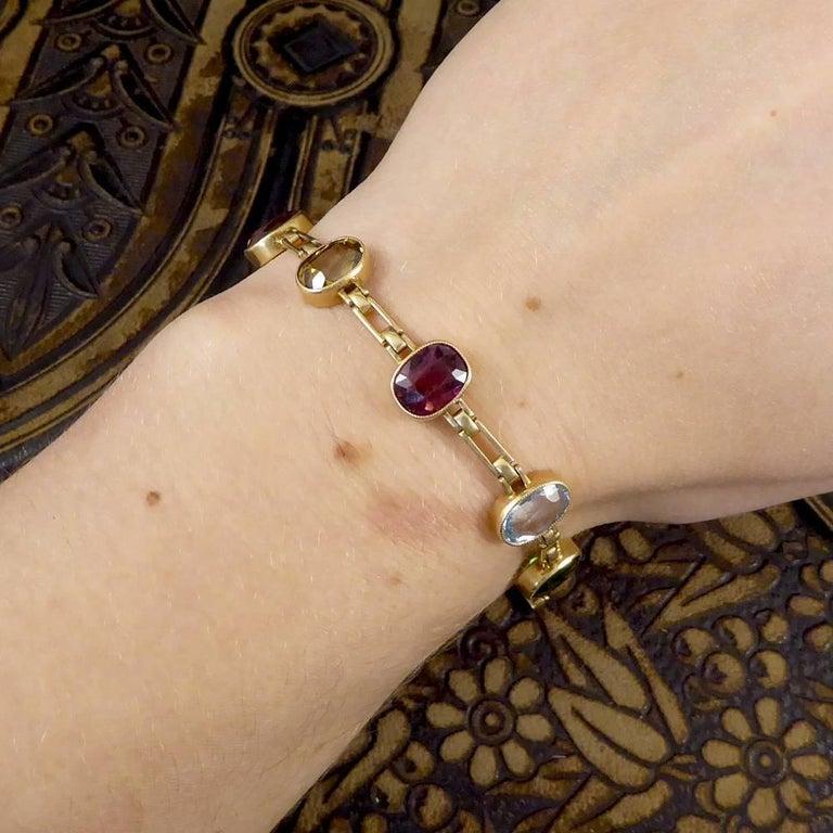 Antique Edwardian Tourmaline, Aquamarine, Garnet and Citrine 15ct Gold Bracelet  For Sale 1