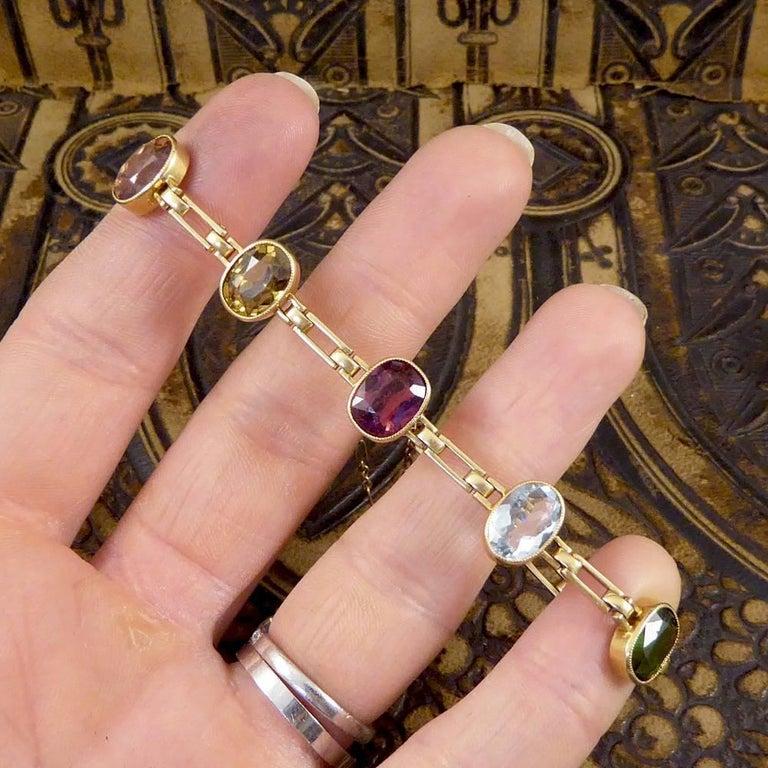 Antique Edwardian Tourmaline, Aquamarine, Garnet and Citrine 15ct Gold Bracelet  For Sale 4