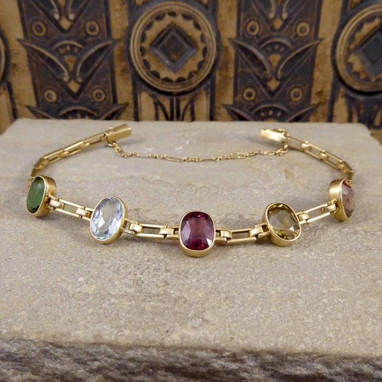 Antique Edwardian Tourmaline, Aquamarine, Garnet and Citrine 15ct Gold Bracelet  For Sale 6