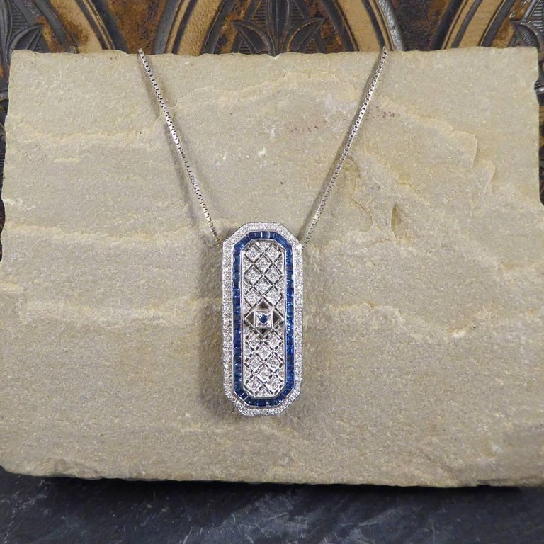 Sapphire and Diamond 18 Carat Pendant Brooch and Chain 2