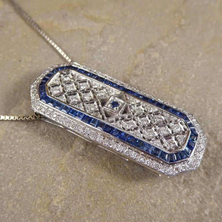 Sapphire and Diamond 18 Carat Pendant Brooch and Chain 3