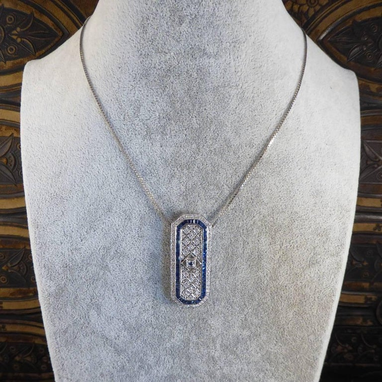 Sapphire and Diamond 18 Carat Pendant Brooch and Chain 9