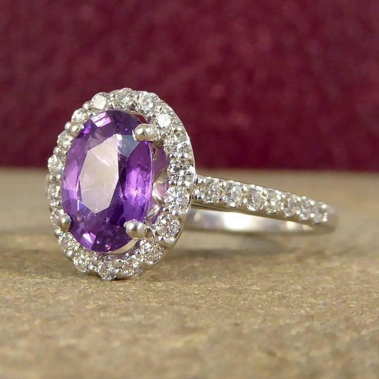 Women's Purple Sapphire Diamond 18 Carat White Gold Engagement Ring For Sale