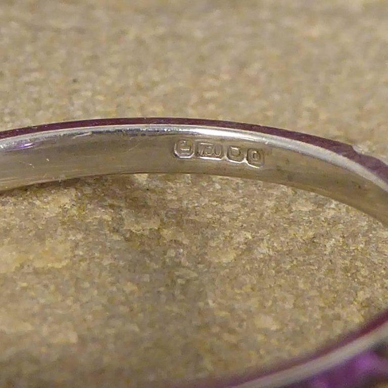 Purple Sapphire Diamond 18 Carat White Gold Engagement Ring For Sale 1