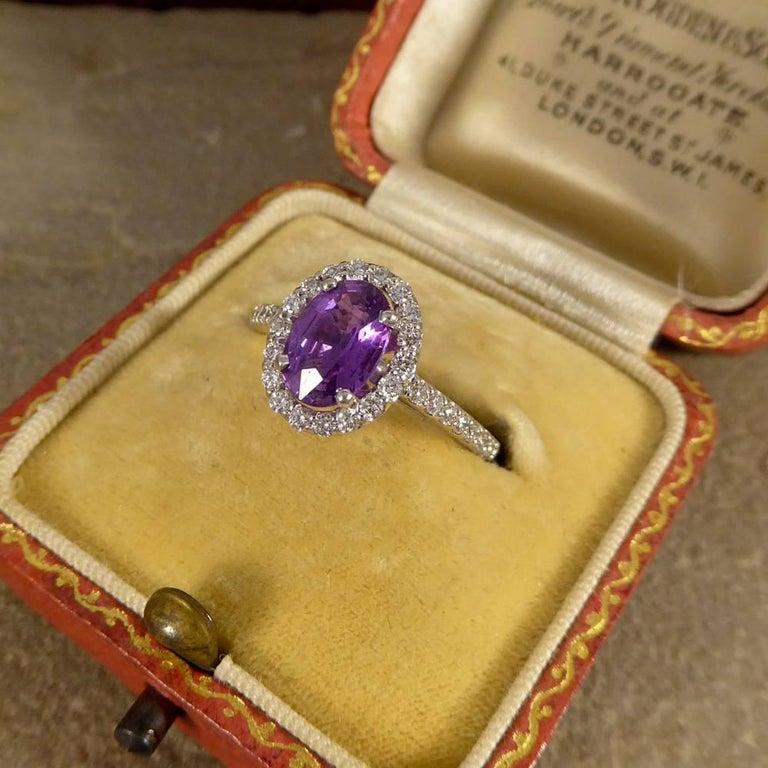 Purple Sapphire Diamond 18 Carat White Gold Engagement Ring For Sale 2